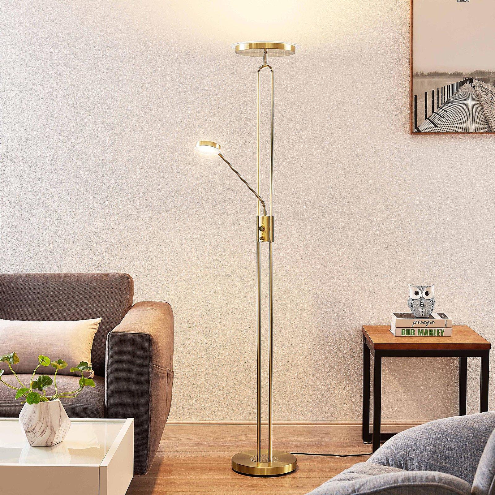 Lindby Twina LED-gulvlampe, messing