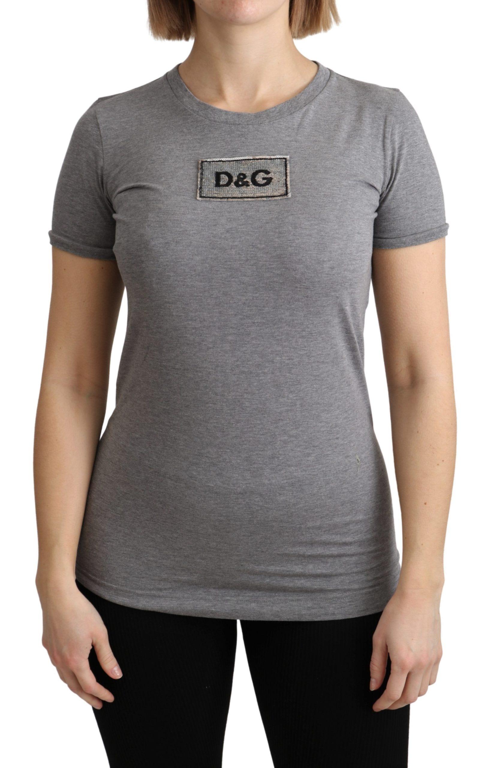 Dolce & Gabbana Women's Cotton Logo Crewneck Top Gray TSH4874 - IT36 | XS