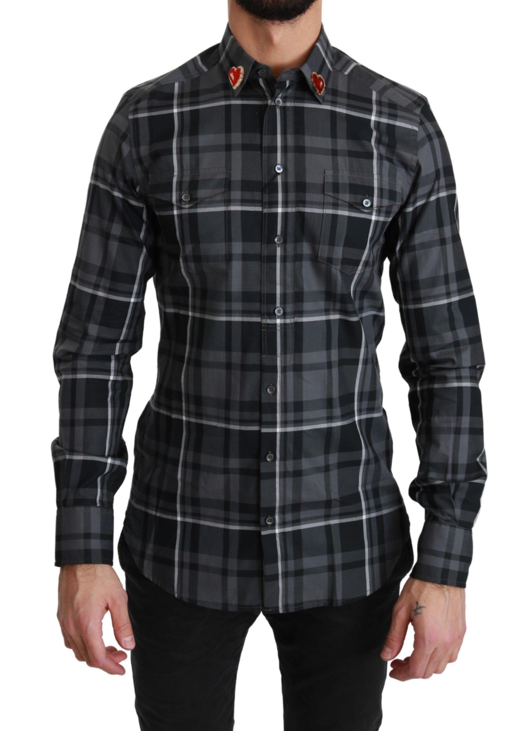 Dolce & Gabbana Men's Checkered Heart Collar MARTINI Shirt Gray TSH4482 - IT37 | XS
