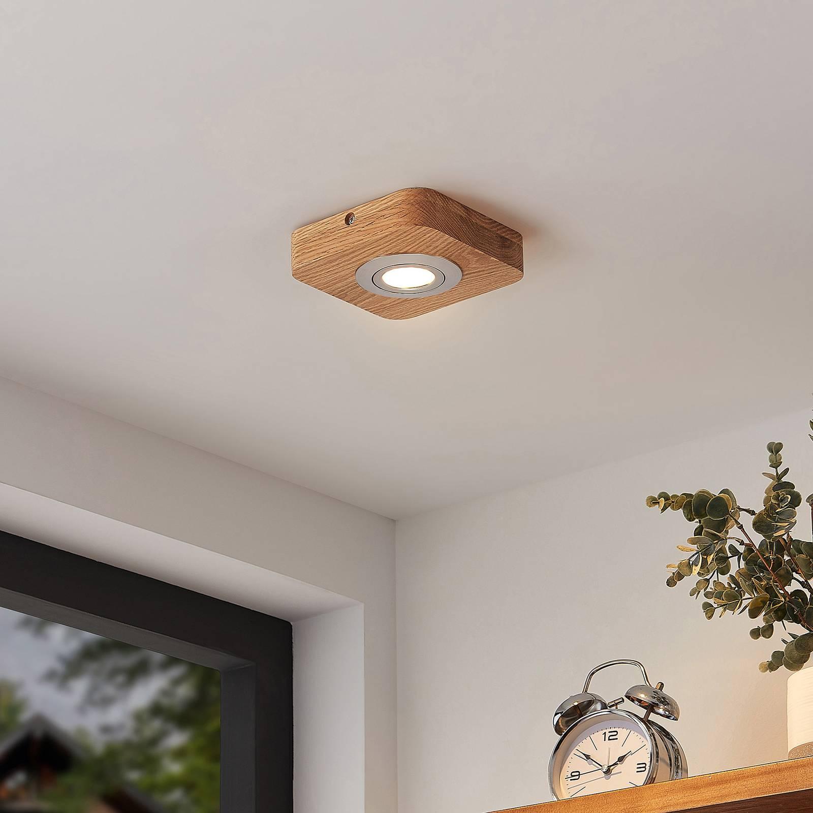 Lindby Mikari -LED-kattovalo puuta, 1-lamppuinen