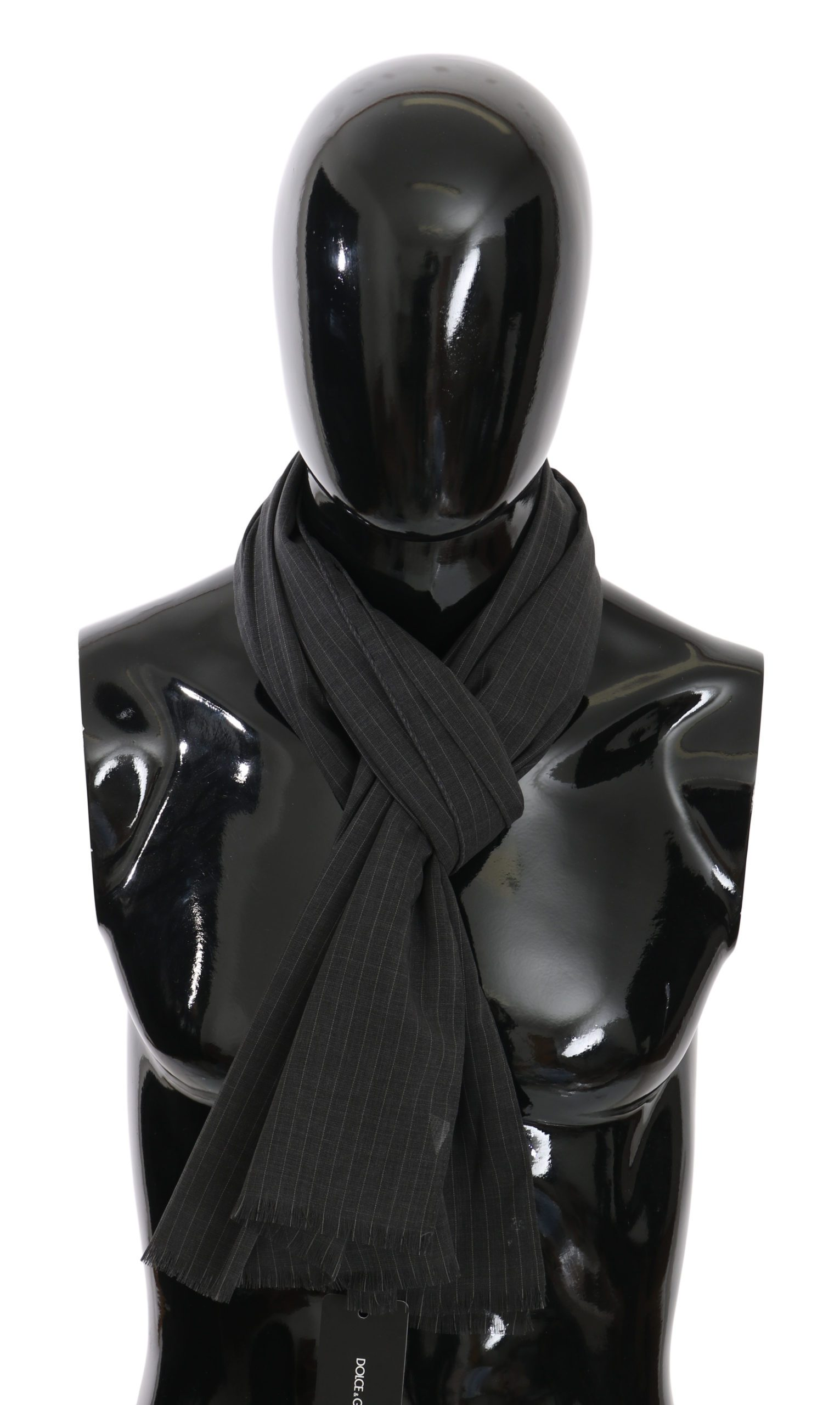 Dolce & Gabbana Men's Striped Silk Scarf Gray MS5023