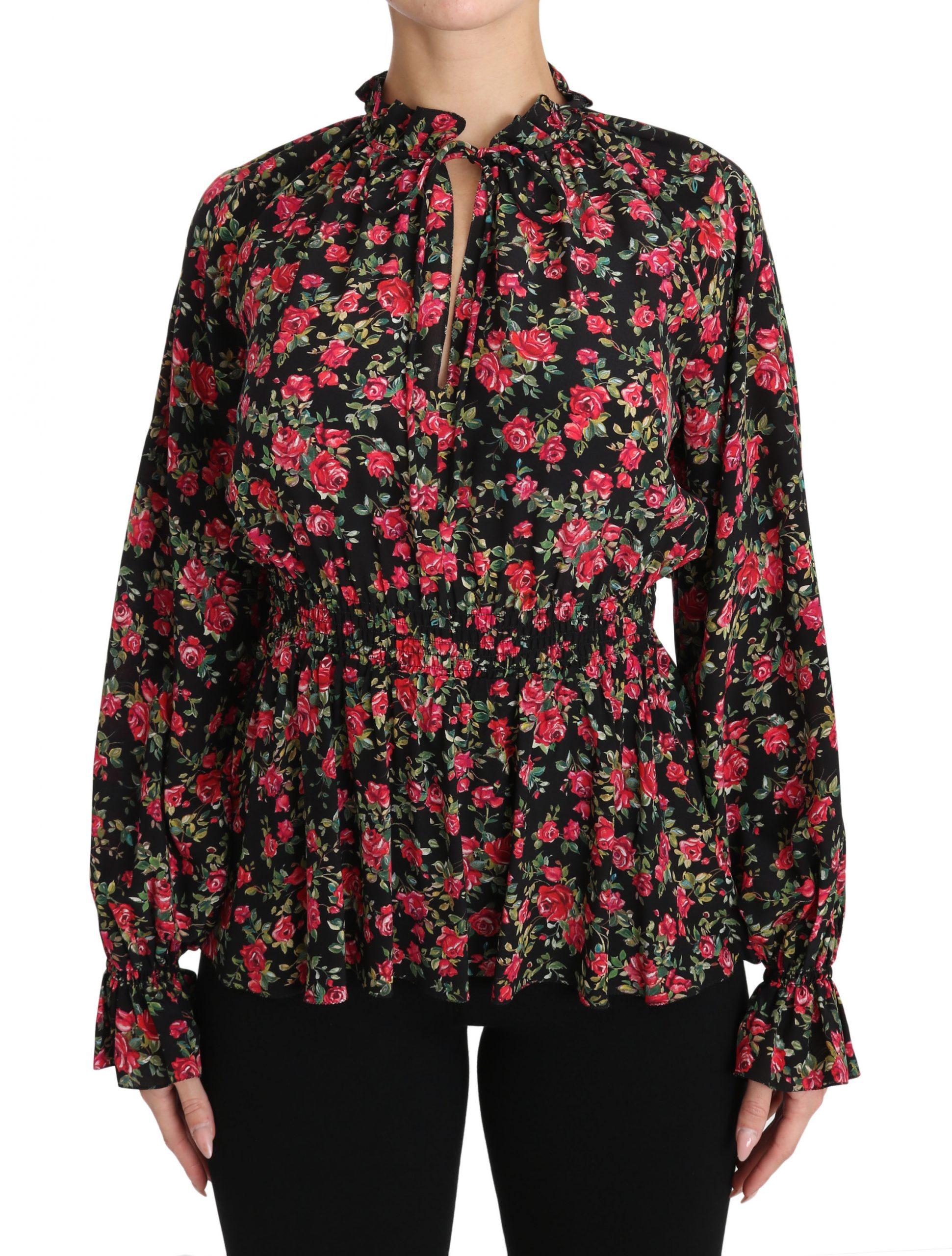 Dolce & Gabbana Women's Floral Elasticated Shirts Black TSH3131 - IT36|XXS
