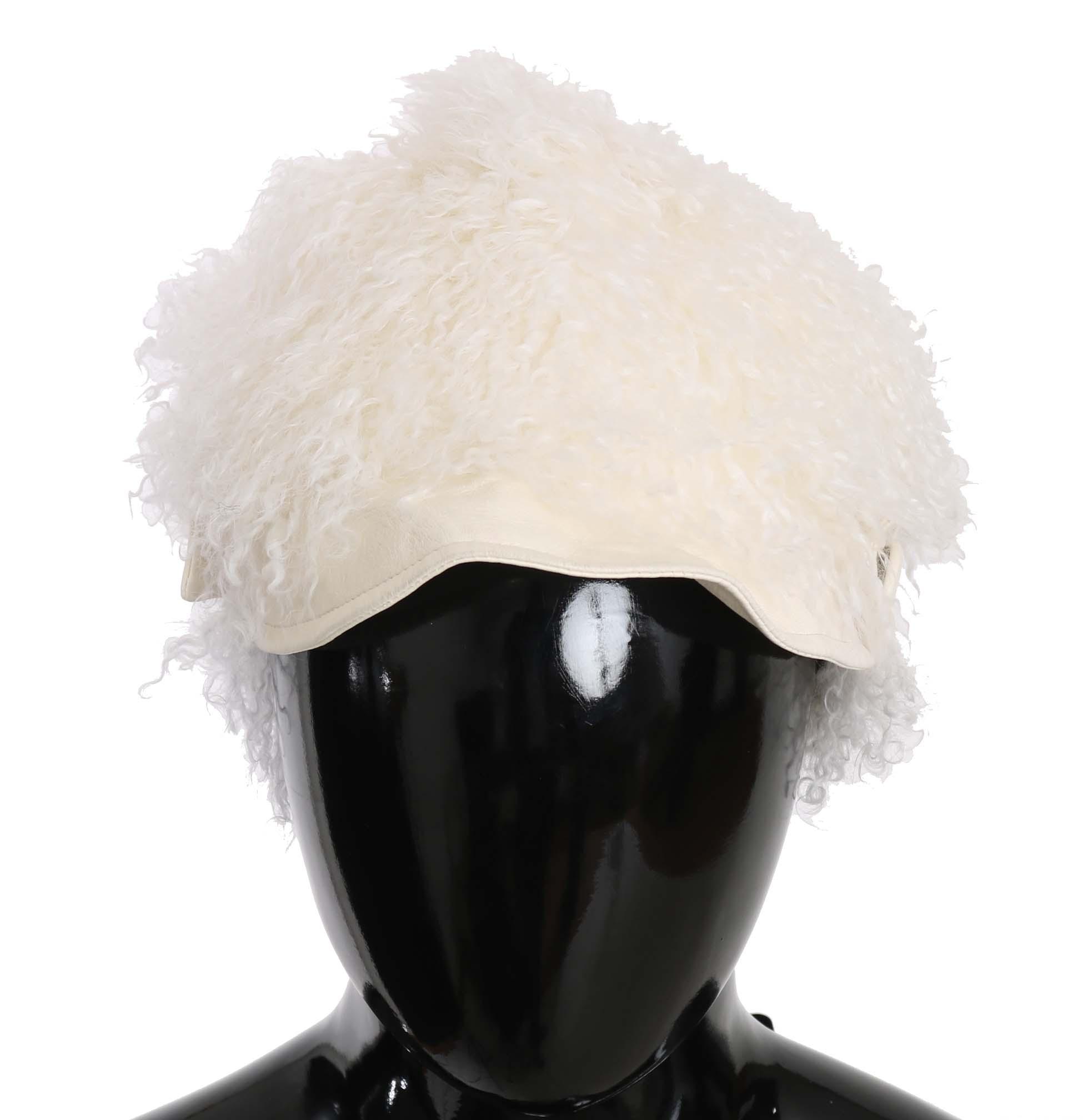 Dolce & Gabbana Women's Tibet Lamb Fur Gatsby Hat Beige HAT70207 - 56 cm|XS