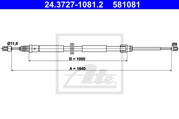 Käsijarruvaijeri ATE 24.3727-1081.2