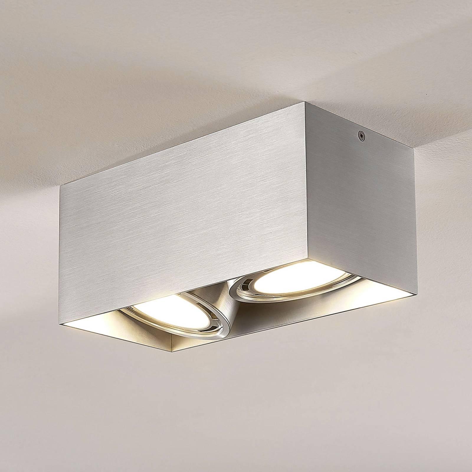 LED-alasvalo Rosalie 2-lamp., kulmikas, alumiini