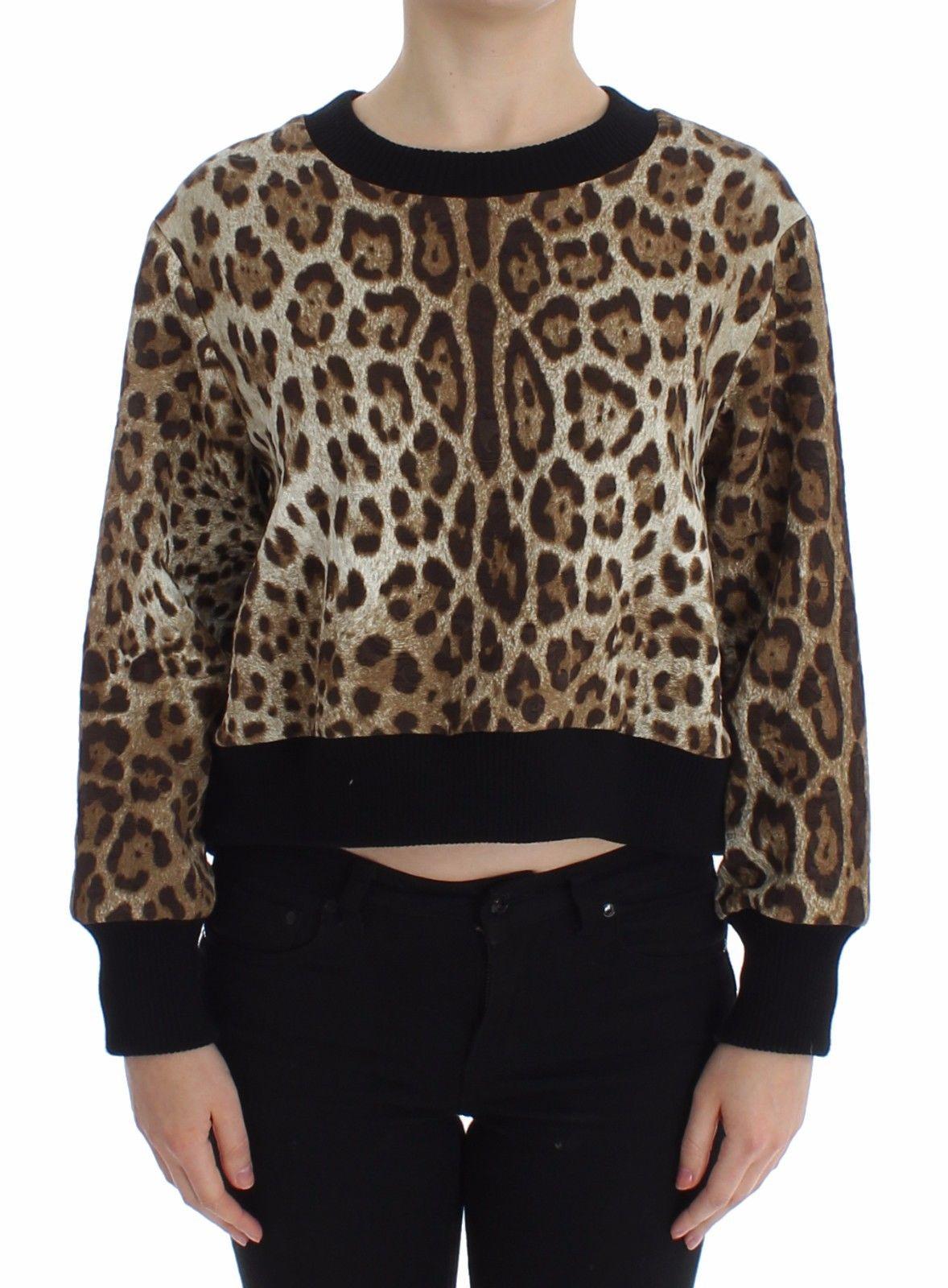 Dolce & Gabbana Women's Leopard Print Crewneck Short Sweater Brown SIG13185 - IT44 L