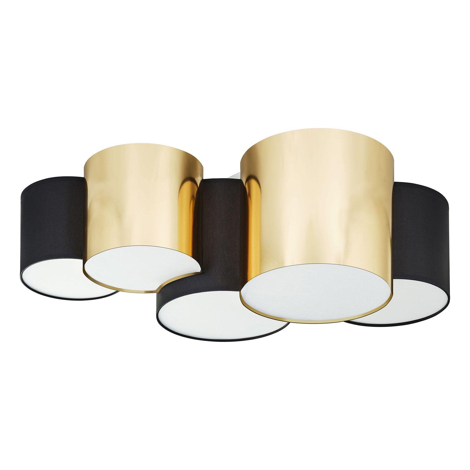 Taklampe Mona 5 lyskilder, svart/gull
