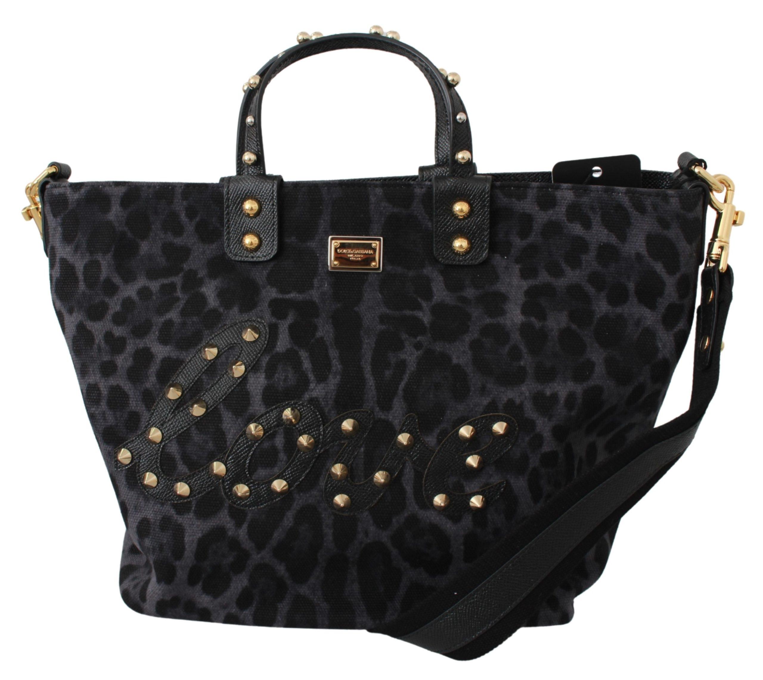 Dolce & Gabbana Women's Leopard Love Patch Studs Tote Bag Blue VAS9433