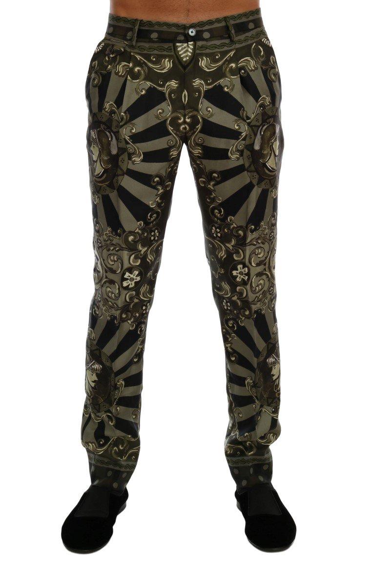 Dolce & Gabbana Men's Carretto Print Silk Dress Trouser Green PAN60700 - IT46 | S