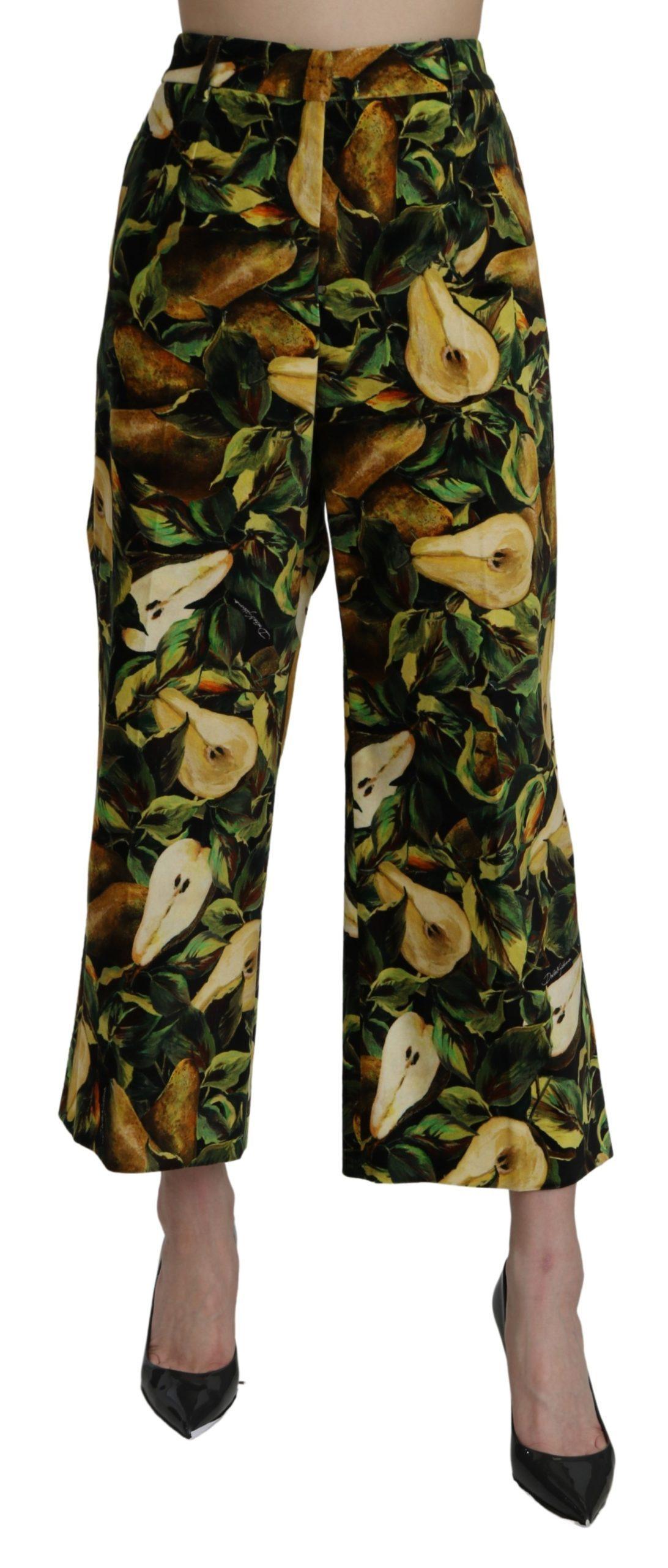 Dolce & Gabbana Women's Pear High Waist Cotton Trouser Black PAN71066 - IT48 XXL
