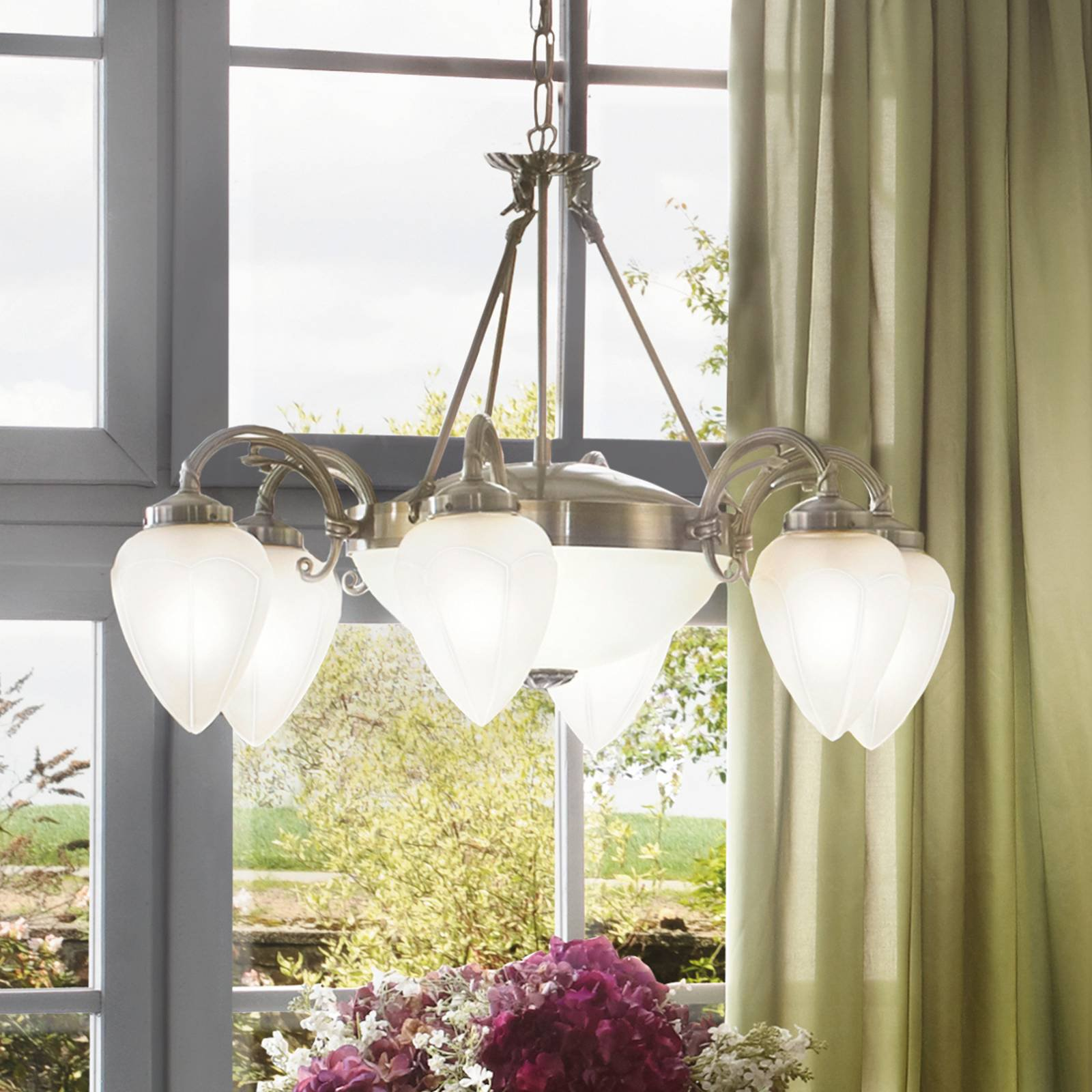 Klassisk Impery pendellampe med åtte lys