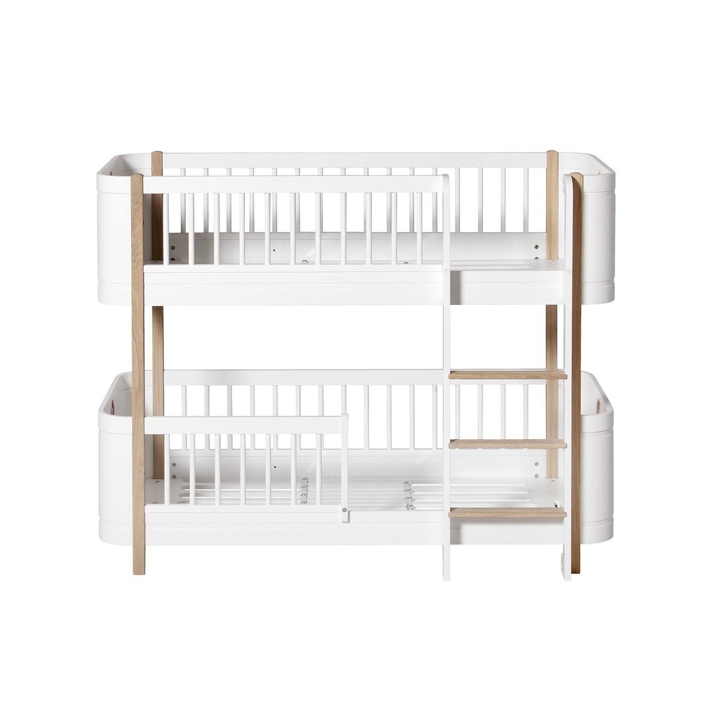 Våningssäng WOOD MINI+ vit/ek, Oliver Furniture
