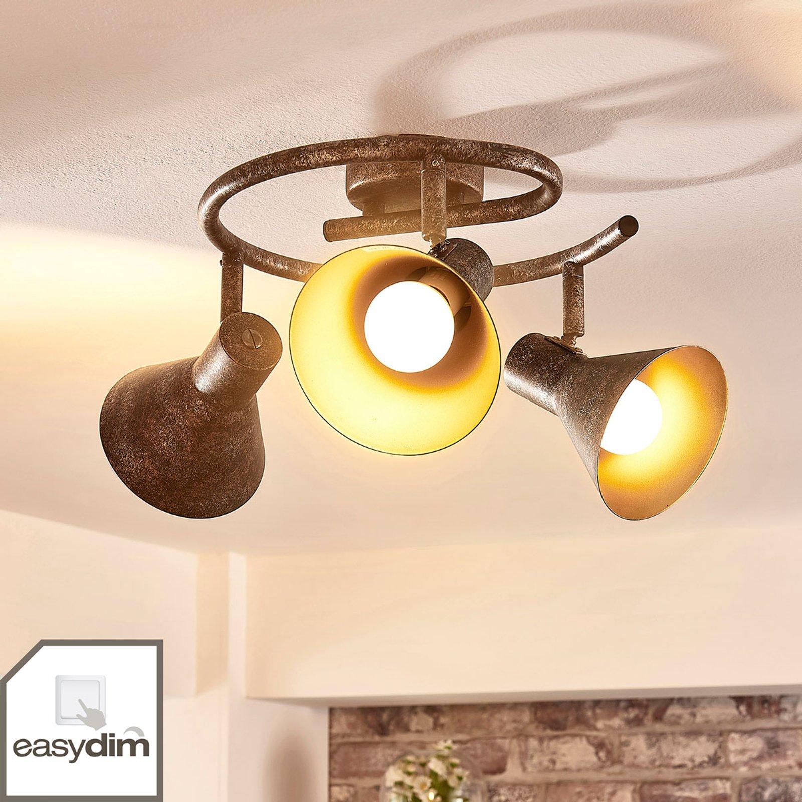 Dimbar LED-takrondell Zera i rust og gull