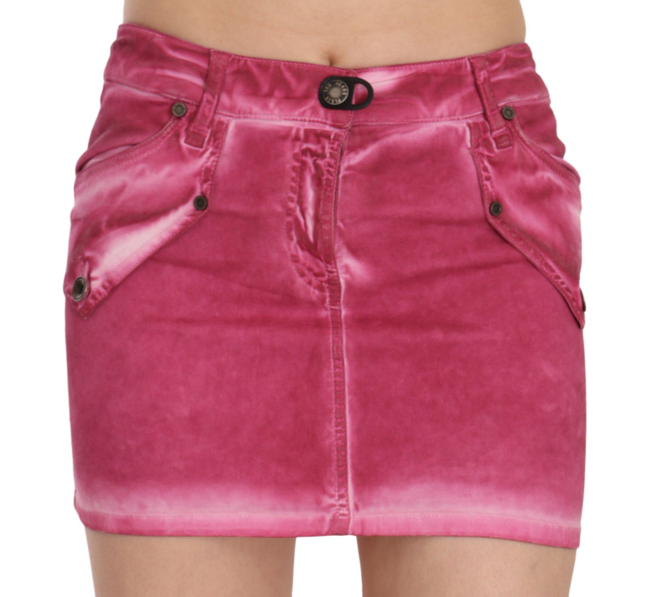 PLEIN SUD Women's Cotton Stretch Casual Mini Skirt Pink PAN70248 - IT36|XXS