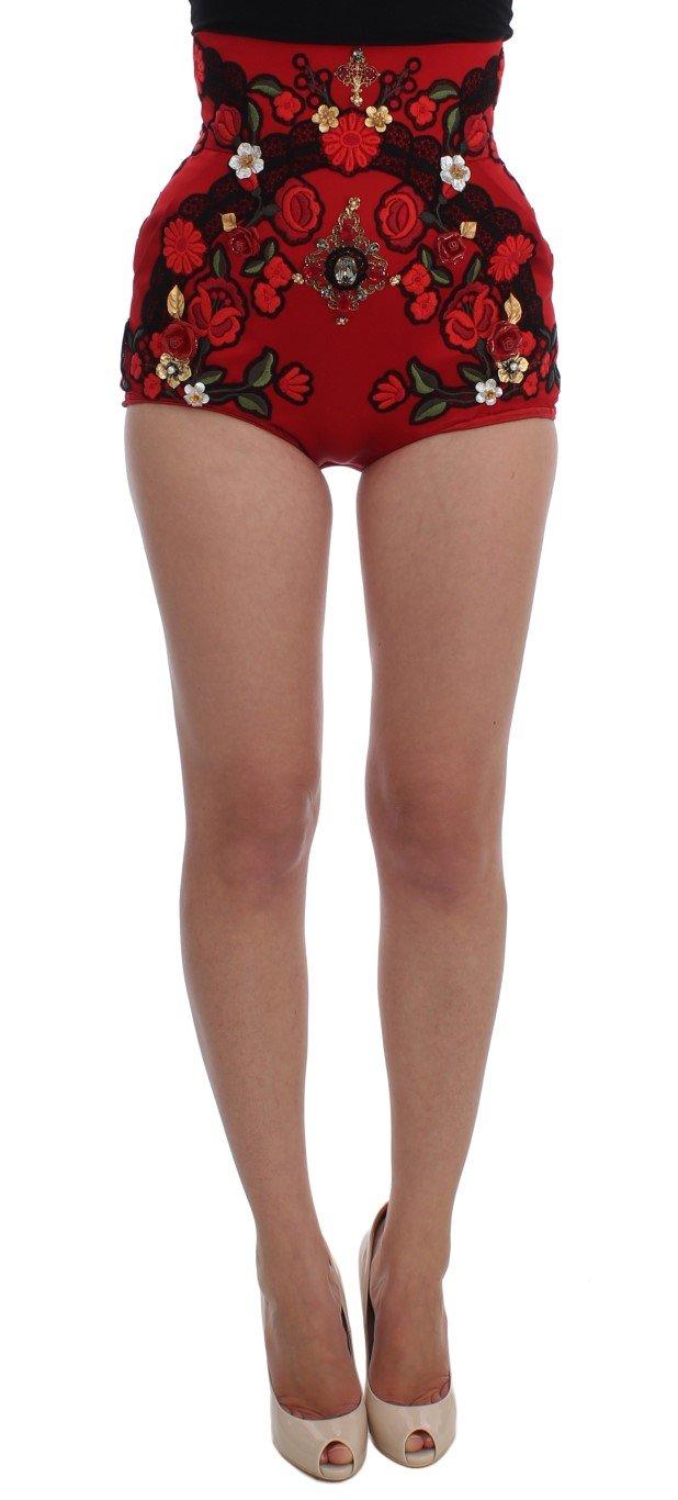 Dolce & Gabbana Women's Silk Roses Crystal Mini Shorts Red SIG20114 - IT42|M