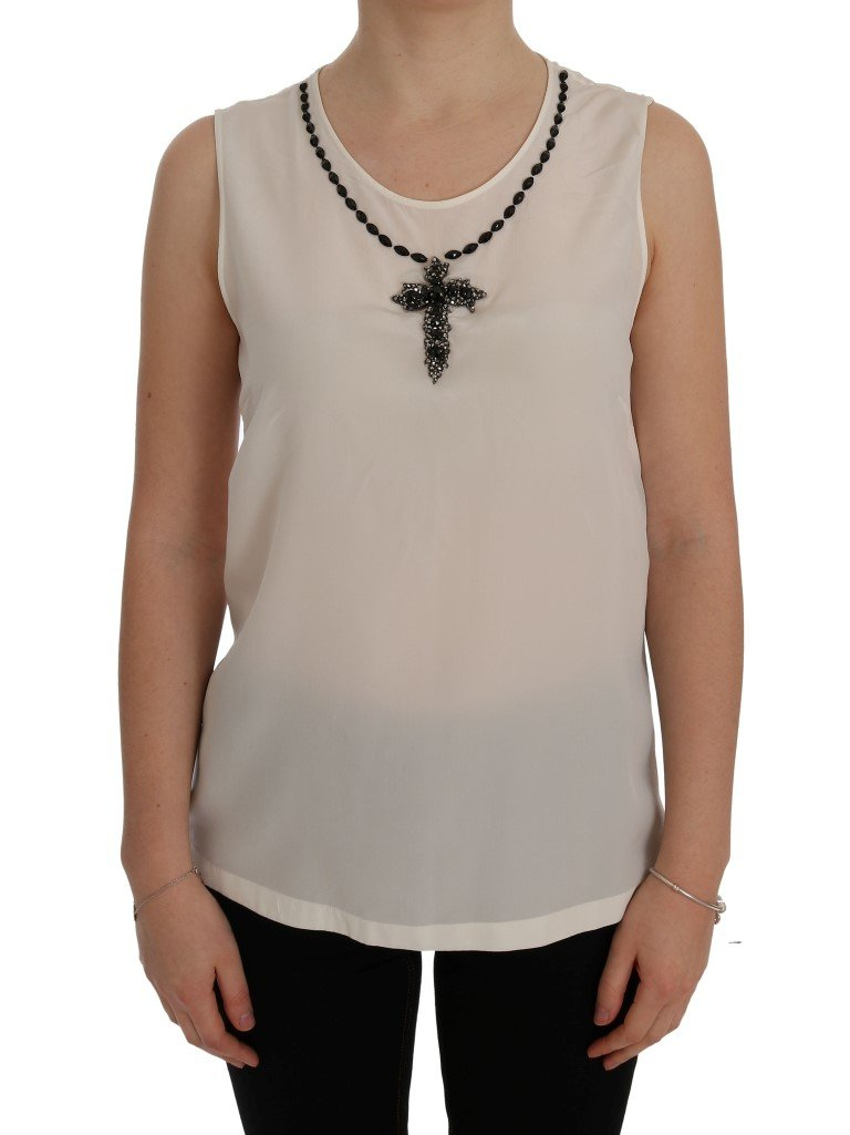 Dolce & Gabbana Women's Silk Crystal Cross Top White SIG50497 - IT44|L