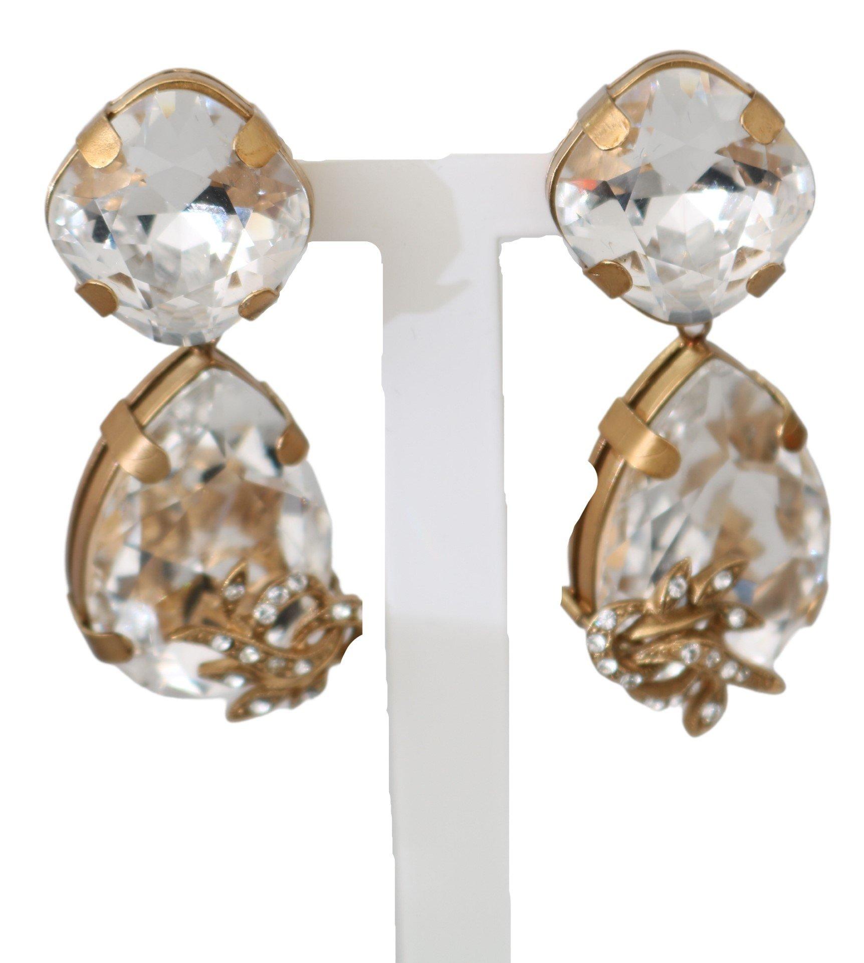 Dolce & Gabbana Women's Brass Floral Crystal Clip-On Earrings Gold SMY7159