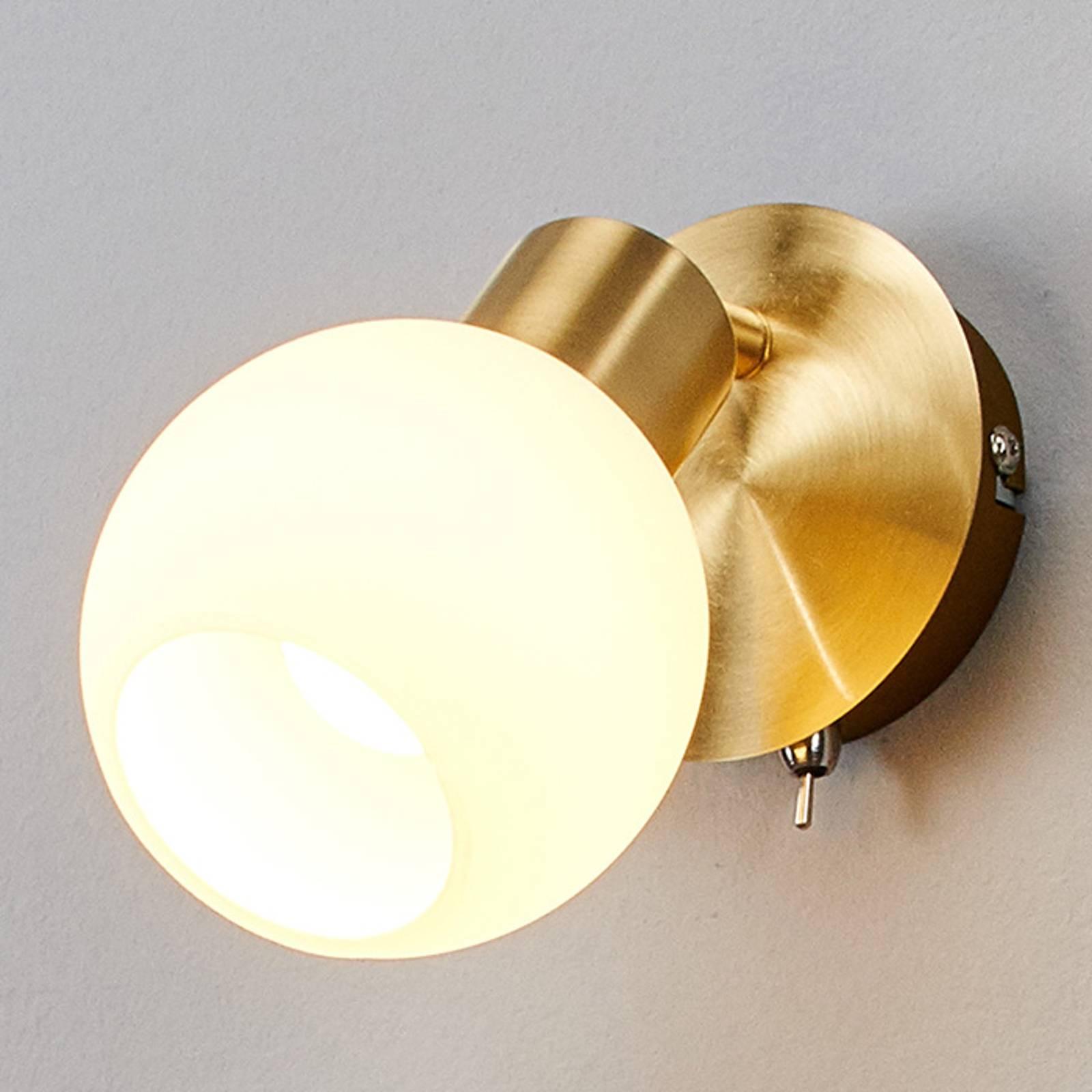Yksilamppuinen LED-seinävalaisin Elaina, messinki