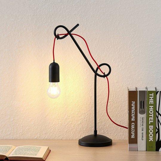 Lucande Jorna bordlampe i svart, rød kabel