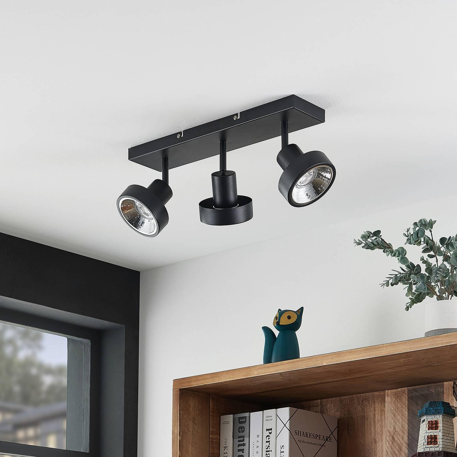 Lindby Ignacio -kattovalo, 3-lamppuinen, musta