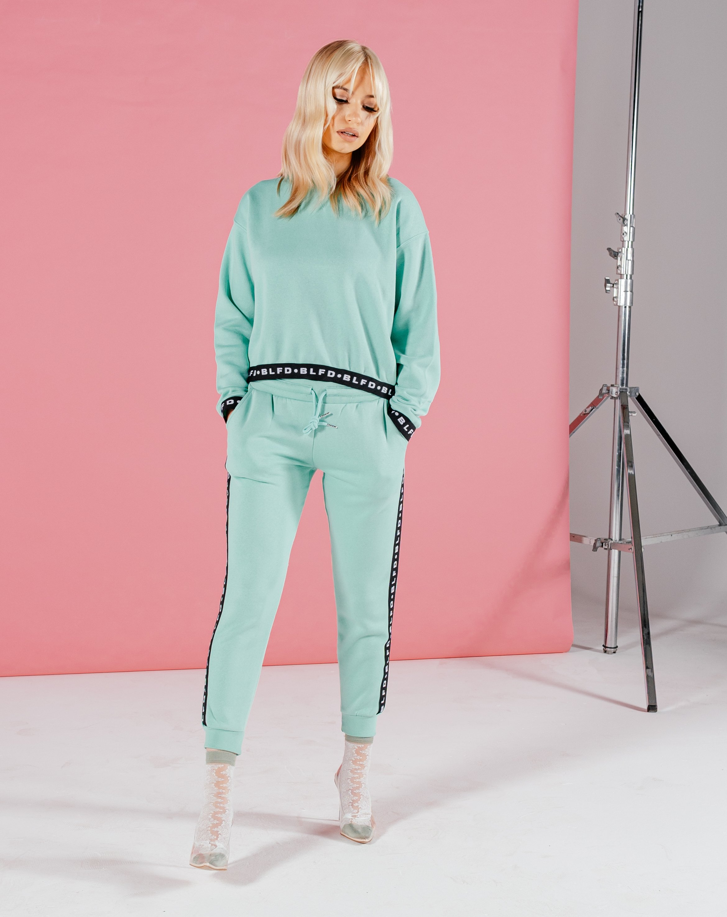 Merty Women's Joggers With Branded Tape - Mint / 10