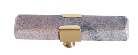 KNOB/HOOK, rose marble rectangle, brass