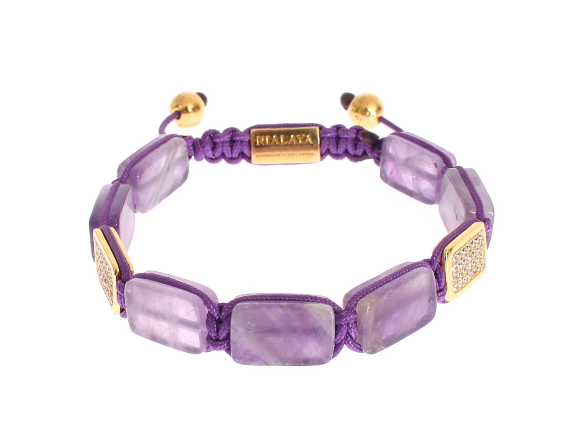 Nialaya Women's CZ Amethyst 18k Gold 925 Bracelet Purple NIA20249 - M