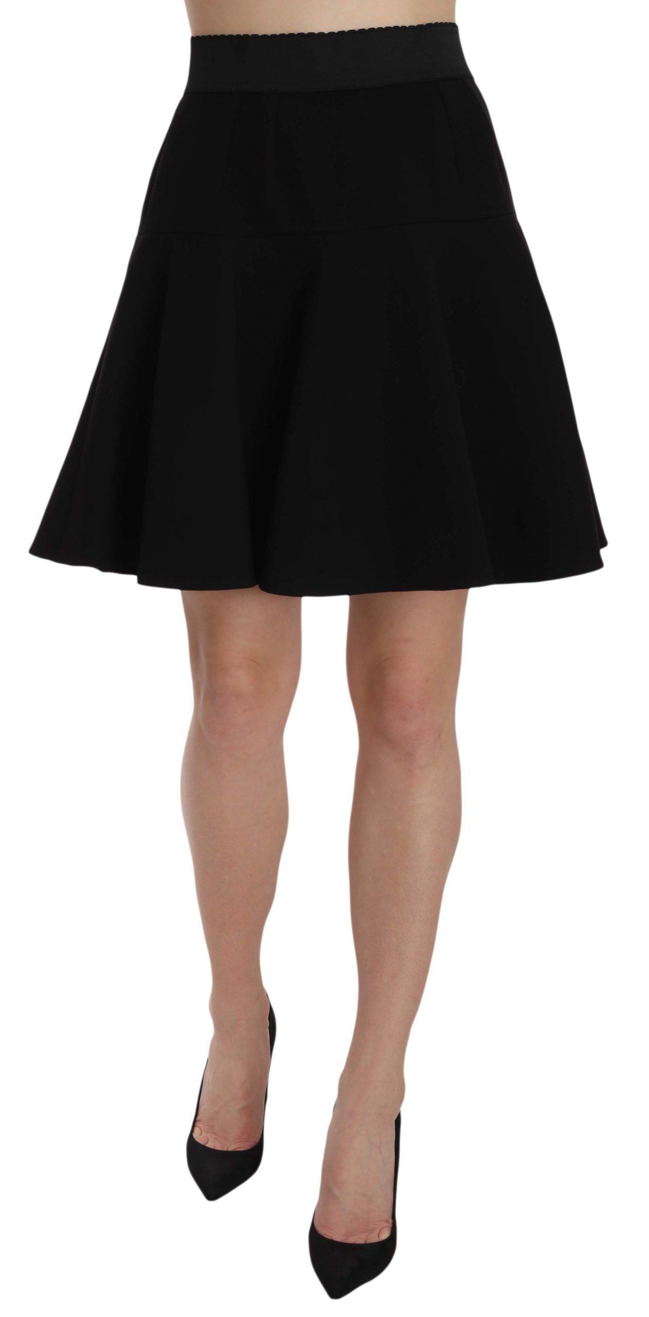 Dolce & Gabbana Women's Solid A-line Fluted Waist Skirt Black SKI1170 - IT40|S