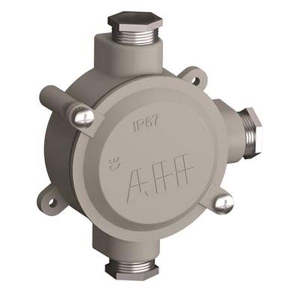 ABB 2CMA136542R1000 Lettmetallboks aluminium, gjenge 22,5 1 høyre, 1 opp, 1 venstre, 96 nm