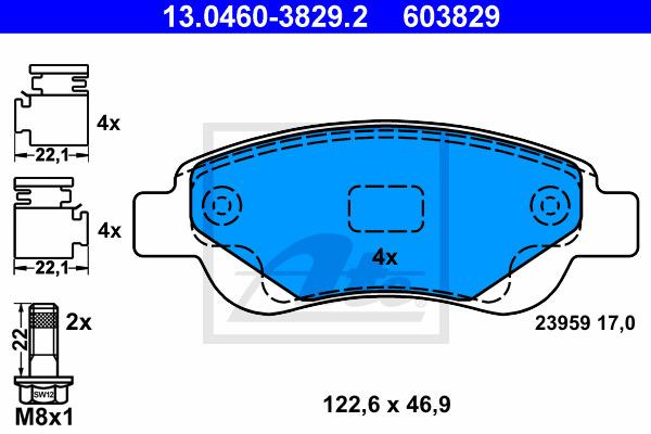 Jarrupalasarja, levyjarru ATE 13.0460-3829.2