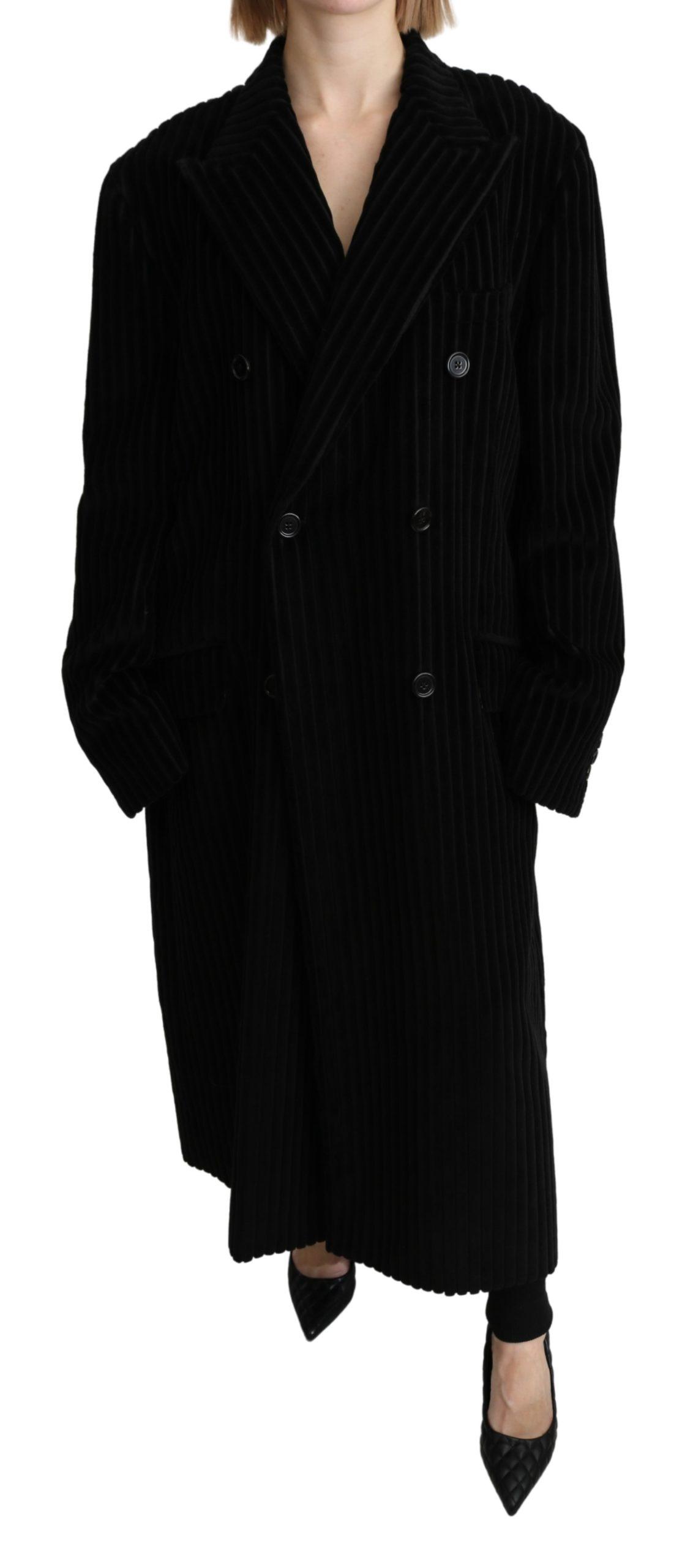 Dolce & Gabbana Women's Double Breasted Blazer Trenchcoat Jacket Black JKT2641 - IT40| L