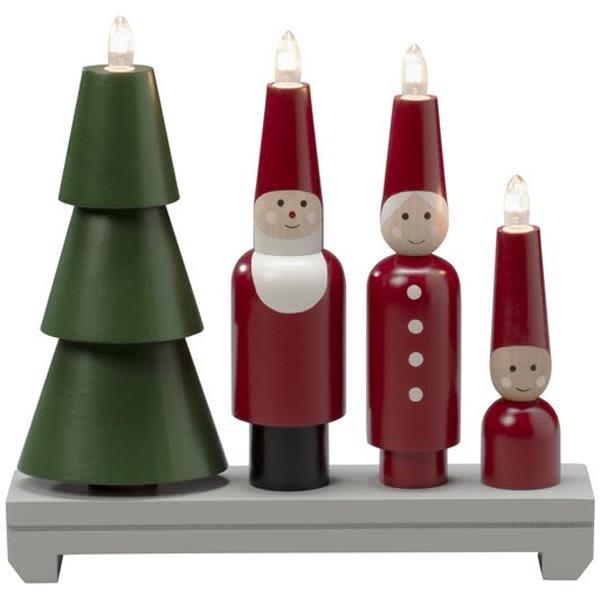 Konstsmide 3970-550 Elektrisk lysestake 4 lys, julenissefamilie