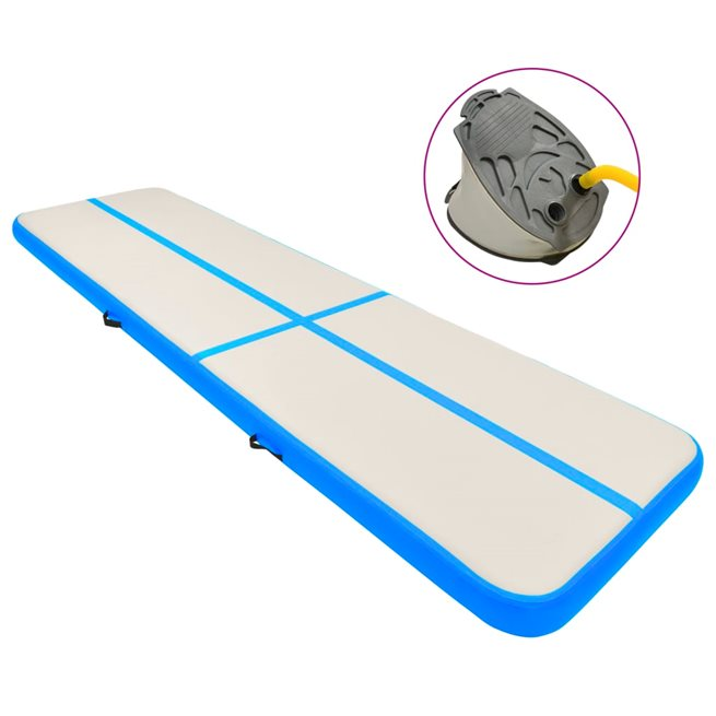 vidaXL Uppblåsbar gymnastikmatta med pump 700x100x15 cm PVC blå