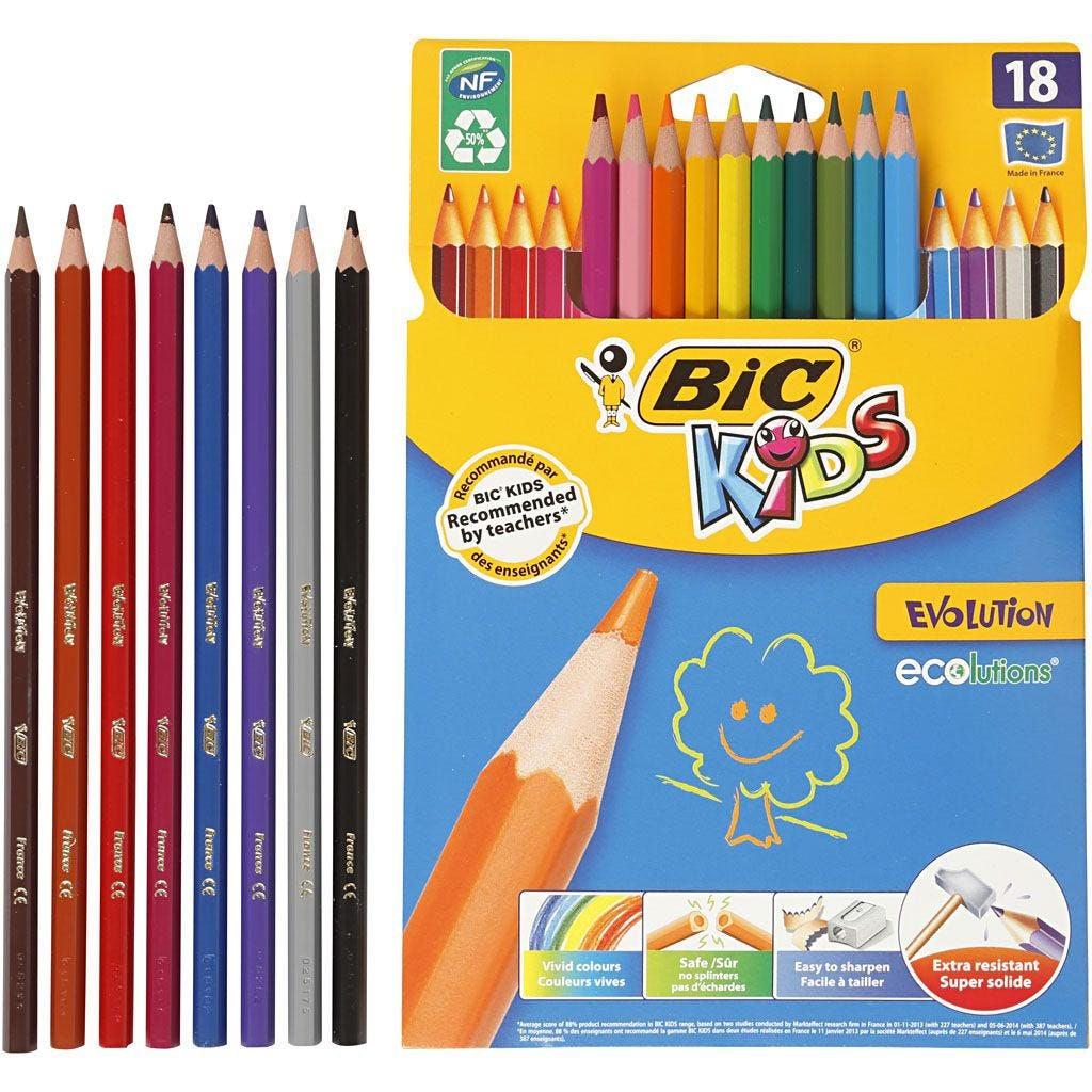 Bic Evolution Färgpennor Mixade Färger Sexkantig 18st