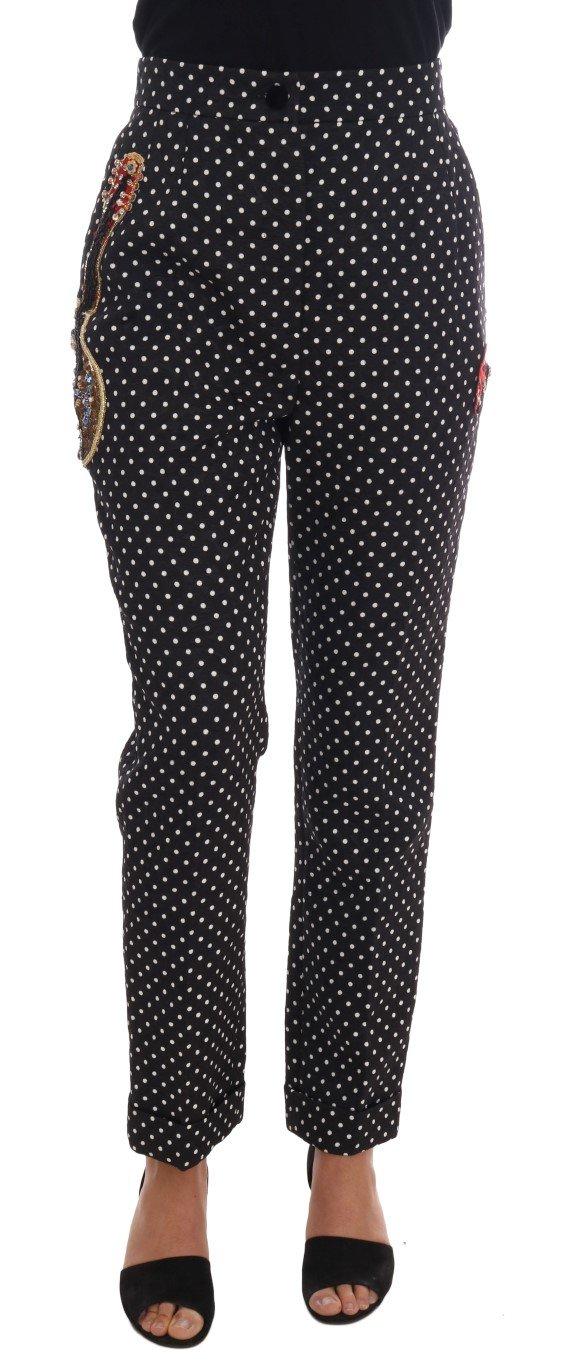 Dolce & Gabbana Women's Polka Dot Sicily Crystal Trouser Multicolor BYX1127 - IT42 M