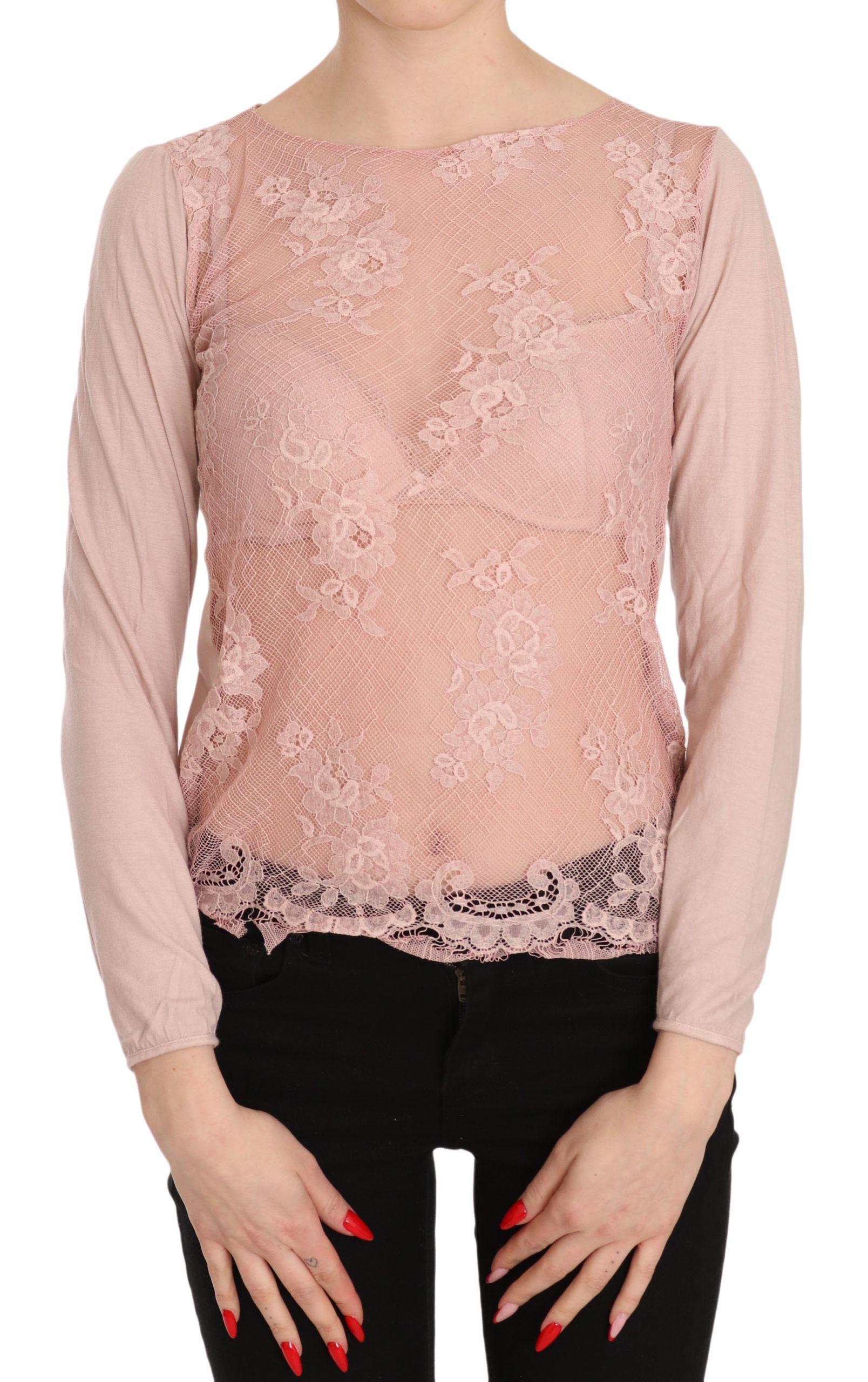 PINK MEMORIES Women's Lace See Through LS Top Pink TSH3453 - IT42 | S