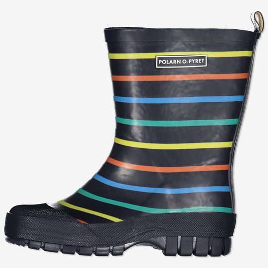 Stripete gummistøvler med forsterkning mørkblå