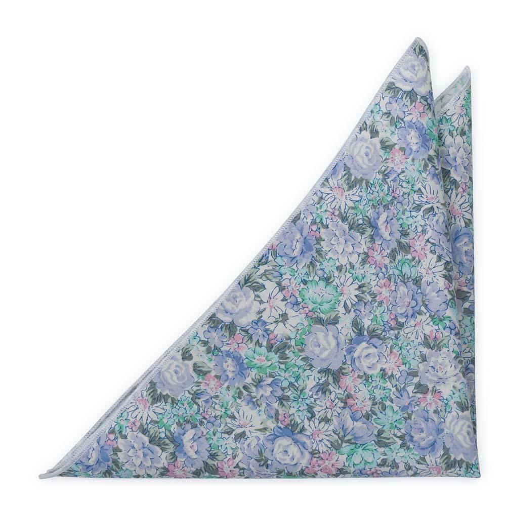 Bomull Lommetørkler, Blå, grønnturkis, lilla & hvite blomster, Blå, Blomster
