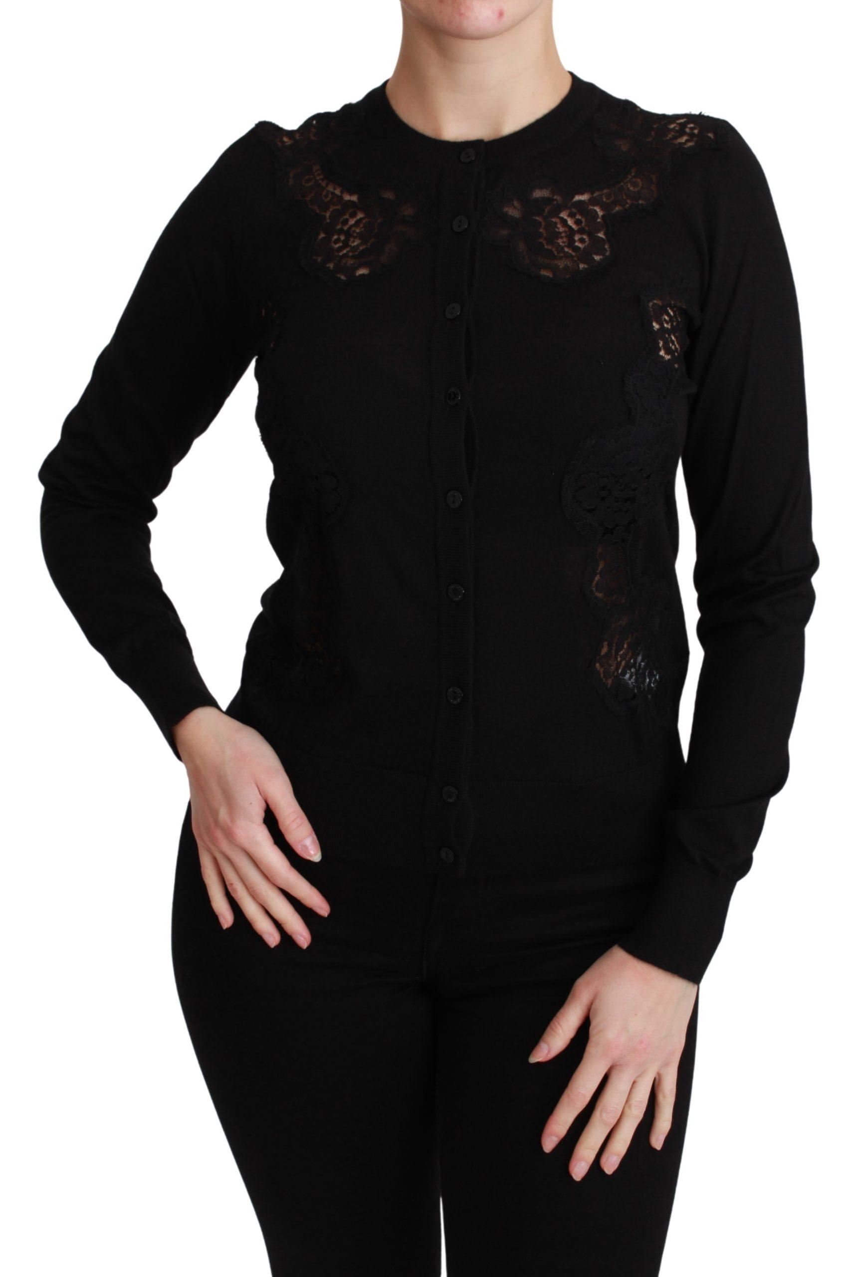 Dolce & Gabbana Women's Cashmere Lace Cardigan Black TSH4590 - IT36 | XS