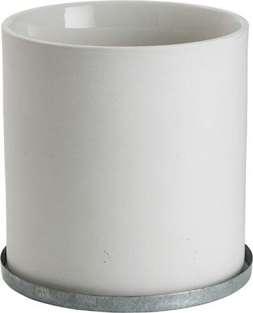 Krukke med sinkfat 16 cm – Hvit
