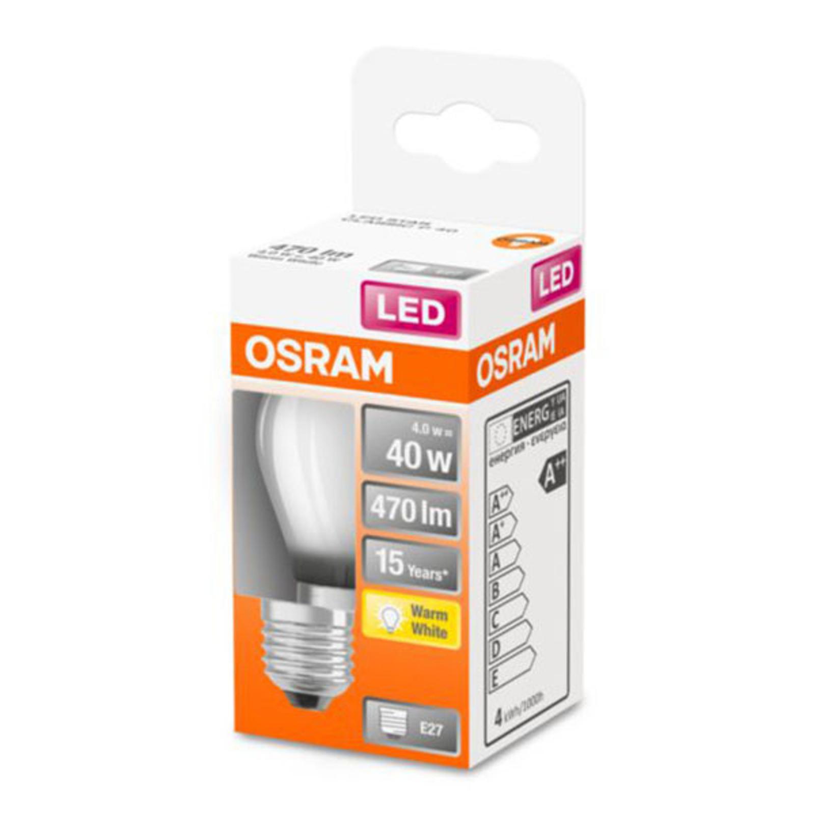 OSRAM Classic P -LED-lamppu E27 4W 2 700 K matta