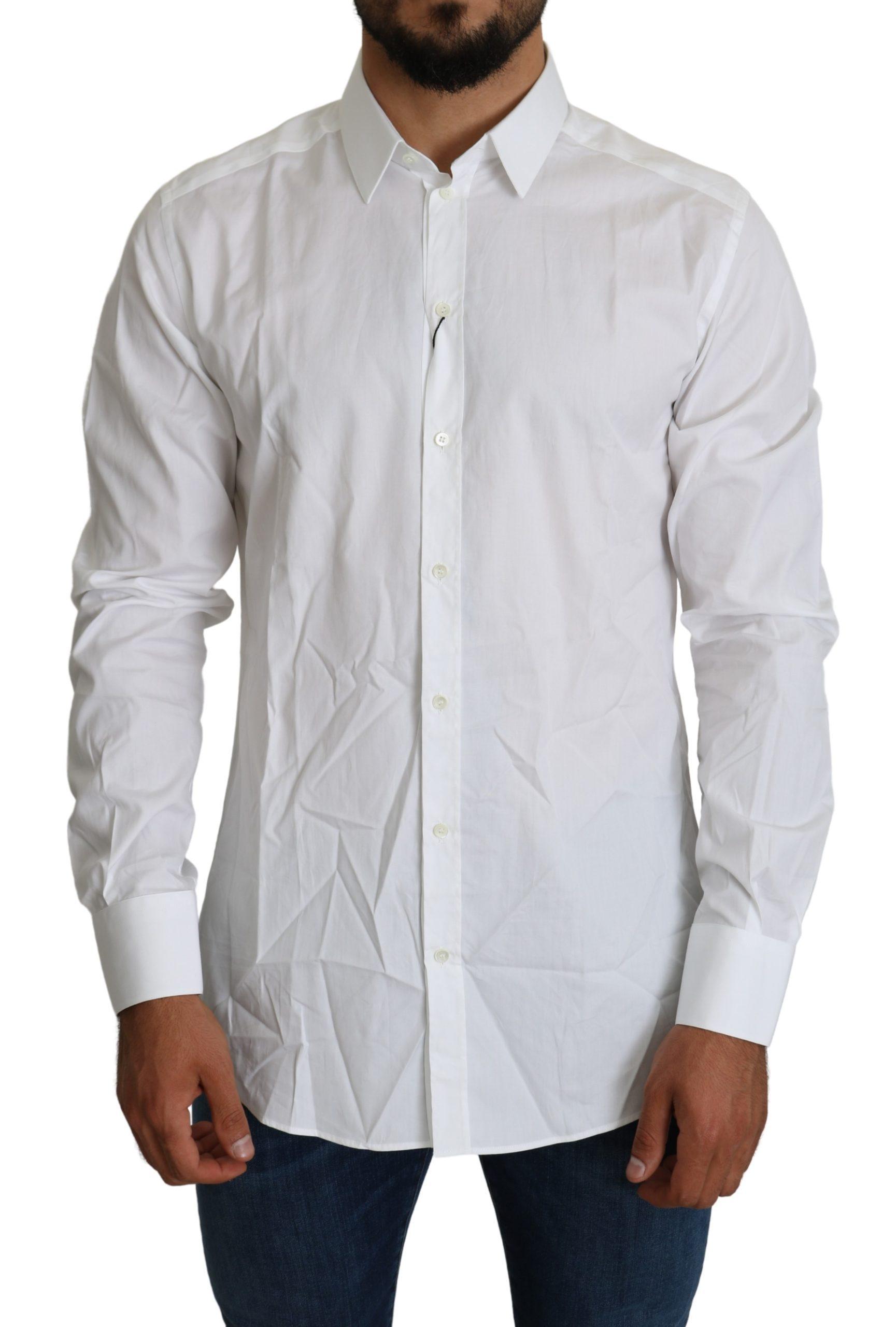 Dolce & Gabbana Men's Formal Cotton Shirt White TSH5229 - IT41 | L
