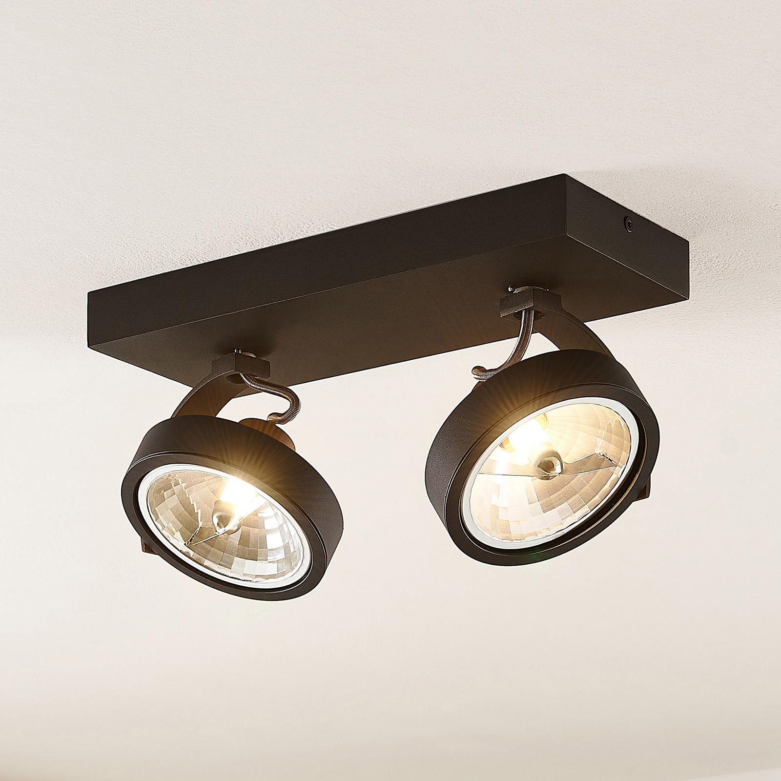 Arcchio Dagur -kattospotti, 2-lamp., musta