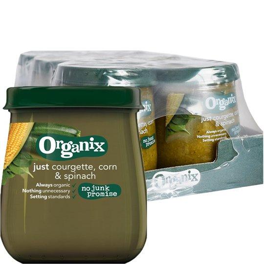 "Laatikollinen Luomu Lastenruokaa ""Courgette, Corn & Spinach"" 6 x 120g - 84% alennus"