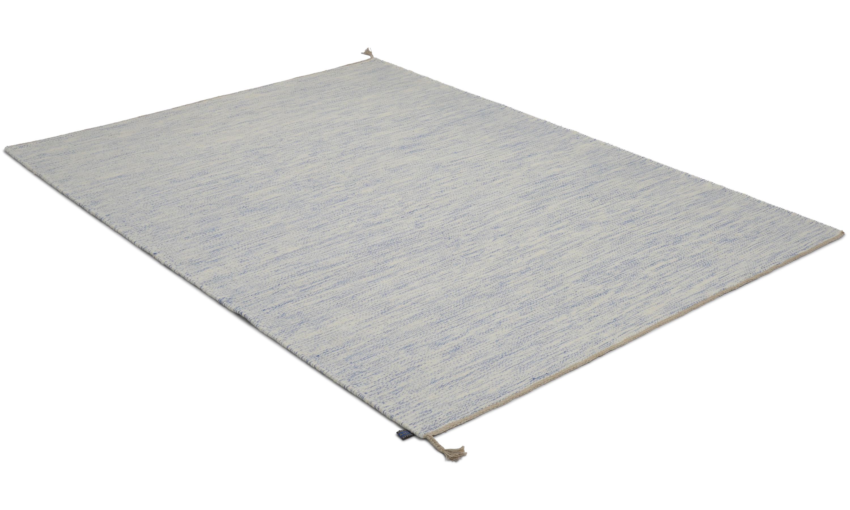 Sofiero hvit/lyseblå - håndvevd ullteppe