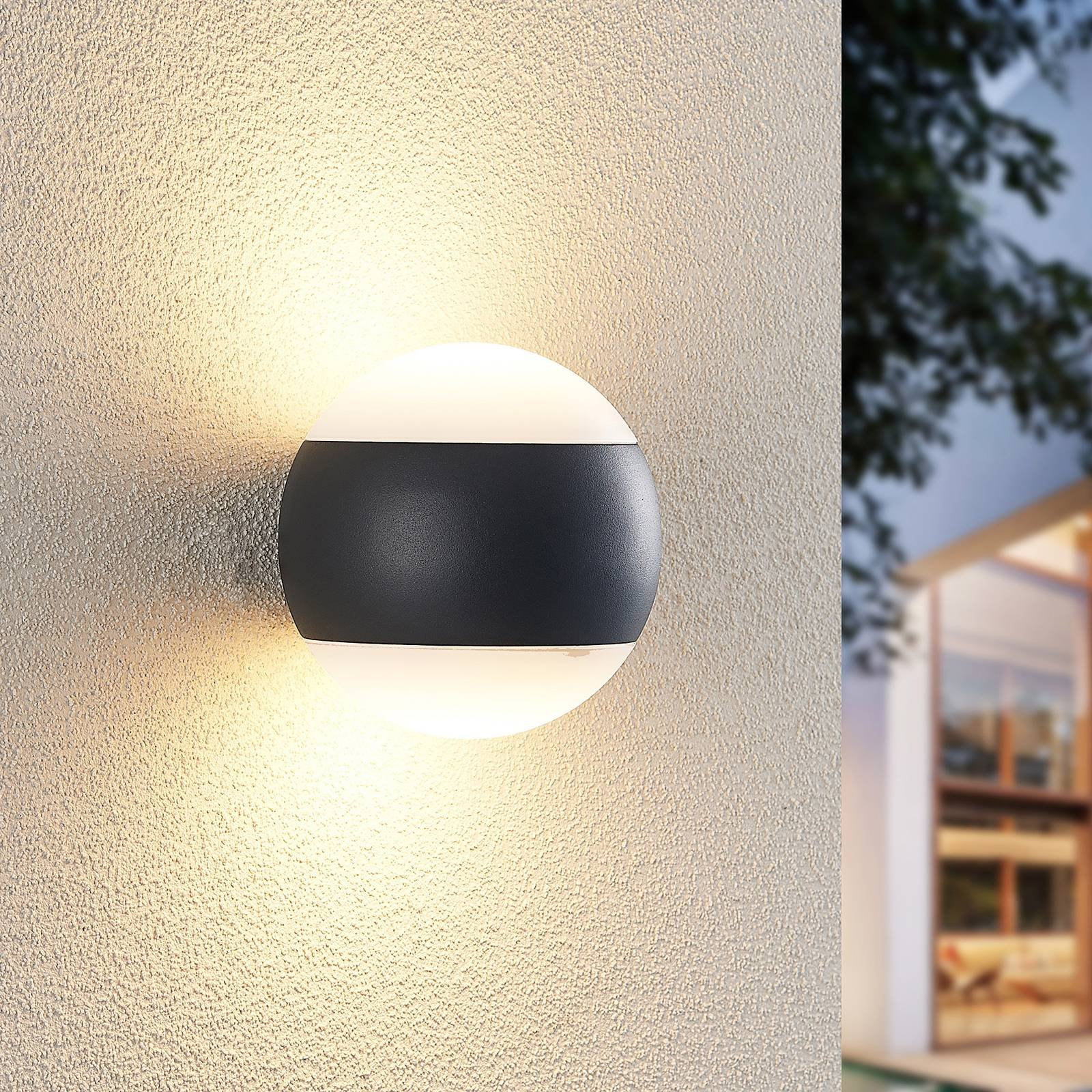 Lindby Mathea utendørs LED-vegglampe, rund