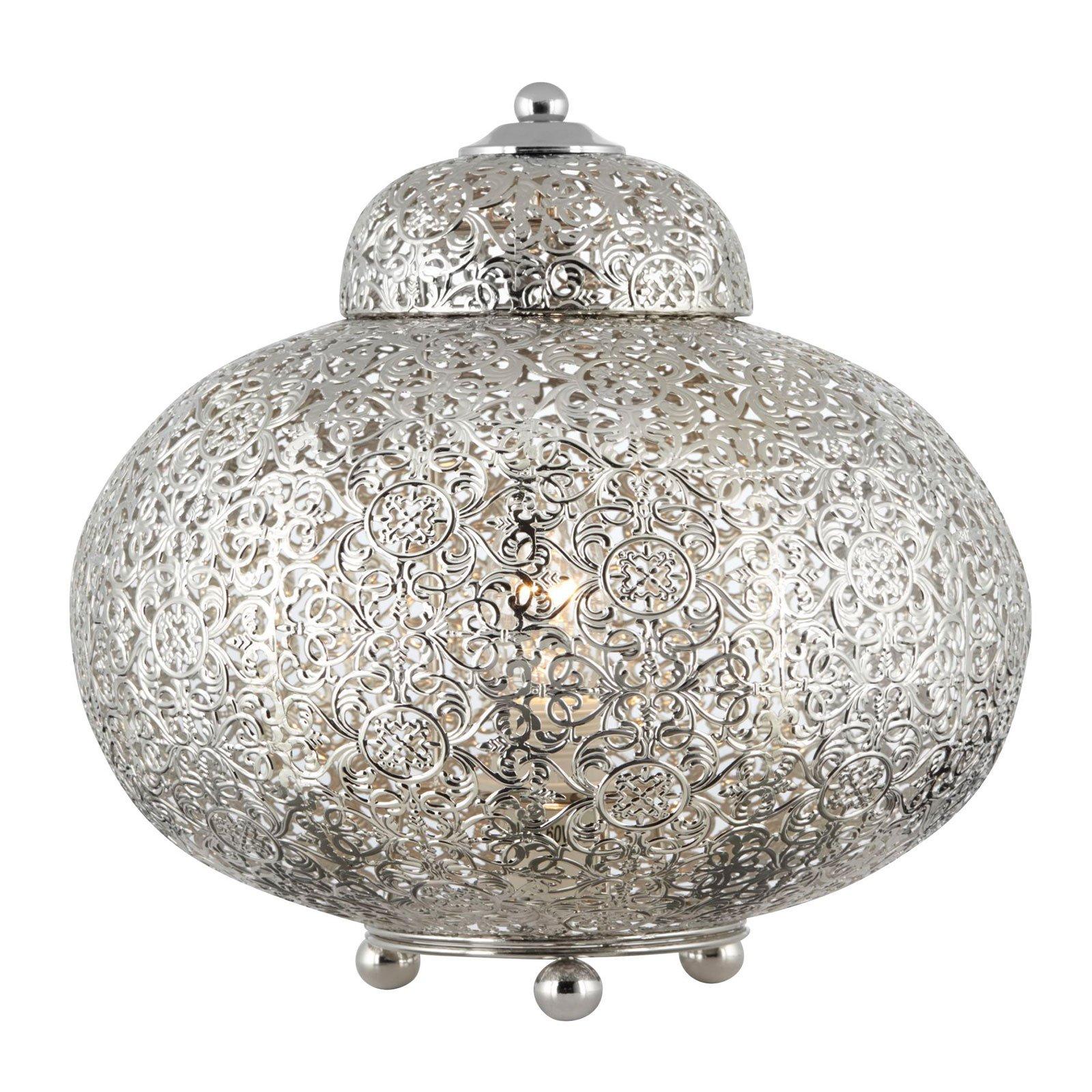 Bordlampe Maroccan Fretwork i blank nikkel