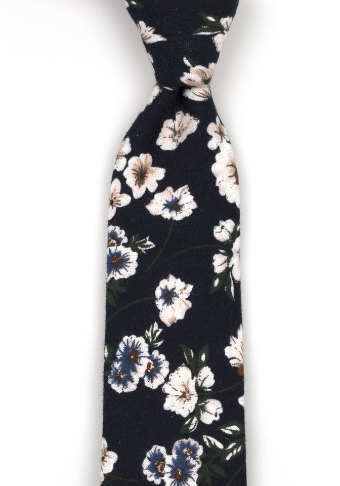 Bomull Slips, Marineblått med blå og rosa blomster, Blå, Blomstertrykk