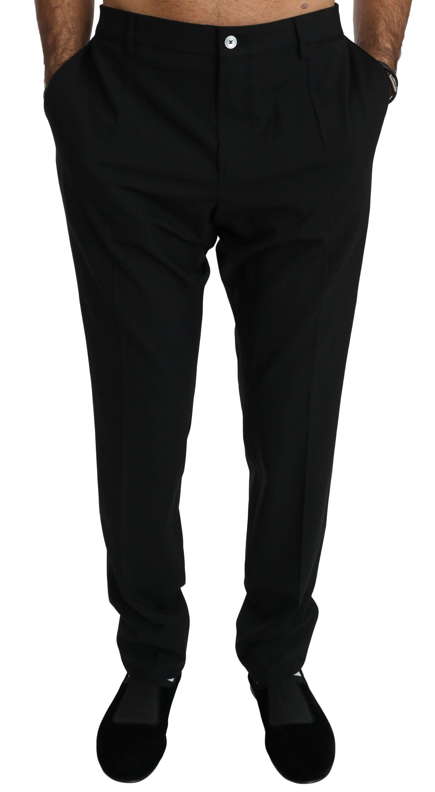Dolce & Gabbana Men's Skinny Wool Stretch Trouser Black PAN70759 - IT54 | XL