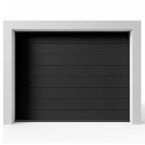 Garasjeport Leddport Moderne Panel Sort, 2400x2125